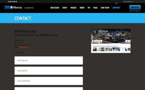 Screenshot of Contact Page 360heros.com - Contact | 360Heros | VR | Virtual Reality - captured Feb. 10, 2016