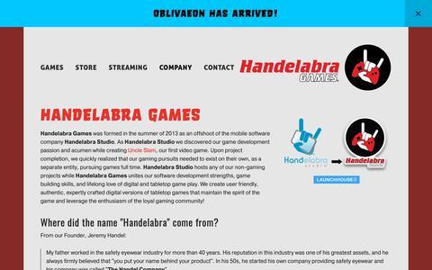 Screenshot of About Page handelabra.com - About — Handelabra Games - captured March 21, 2019