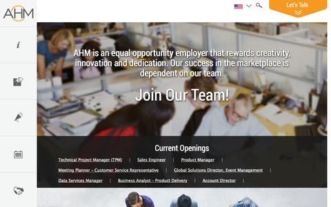 Screenshot of Jobs Page ahmdirect.com - AHM   –  Careers - captured Oct. 4, 2014