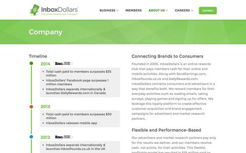 Screenshot of About Page inboxdollars.com - Company - captured Sept. 18, 2014