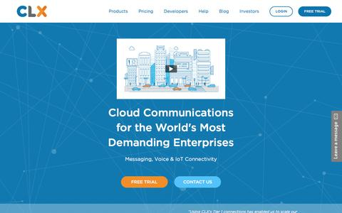 Screenshot of Home Page clxcommunications.com - SMS Messaging, Voice and IoT applications on a cloud communications platform with APIs built for global scale. - captured Feb. 4, 2017