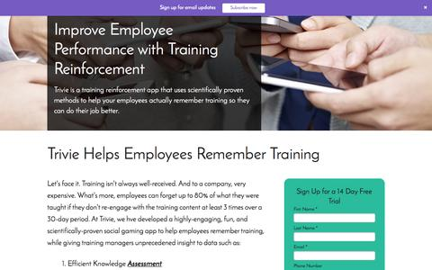 Screenshot of Trial Page trivie.com - Employee Knowledge Reinforcement | Trivie - captured April 6, 2017