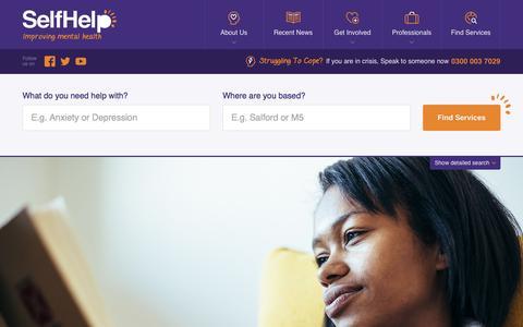 Screenshot of Home Page selfhelpservices.org.uk - Self Help - Improving Mental Health - captured Dec. 6, 2016