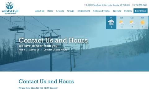 Screenshot of Hours Page rabbithill.com - Contact Us | Rabbit Hill Snow Resort - captured Nov. 24, 2018