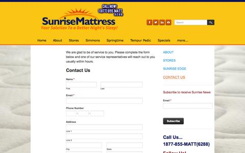 Screenshot of Contact Page sunrisemattress.com - Contact us - Sunrise Mattress - captured Sept. 30, 2014