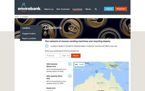 Screenshot of Locations Page envirobank.com.au - Recycling Locations | Envirobank - captured Aug. 11, 2017