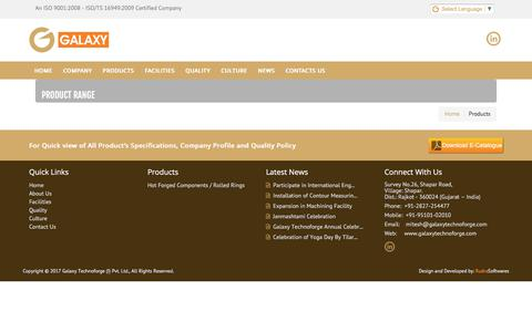 Screenshot of Products Page galaxytechnoforge.com - Galaxy Techno Forge, Galaxy Forge Forgeing Solution Rajkot,Tapper Roller Bearing Races,Ball Bearing Races,Spherical Roller Bearing,Cylindrical Roller Bearing,Angular Contact Bearing,Flange Collar Rings,Different Types of Profile forgings as per custo - captured July 5, 2017