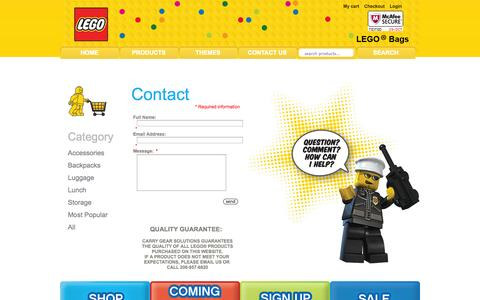 Screenshot of Contact Page legobags.com - Contact Us : ::..LEGO..::, LEGObags.com for all of your kids bags - captured Oct. 28, 2014
