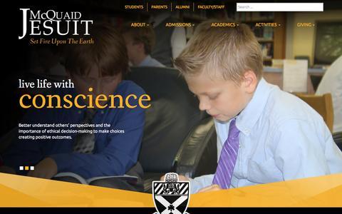 Screenshot of Home Page mcquaid.org - Home - McQuaid Jesuit - captured Feb. 12, 2016