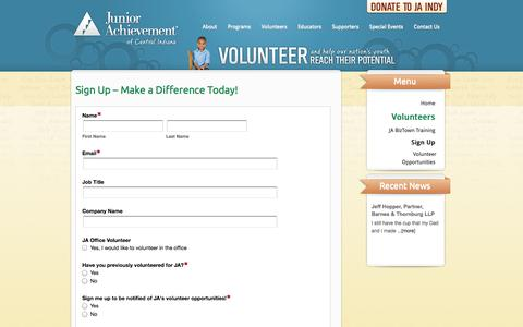 Screenshot of Signup Page jaindy.org - Sign Up | Junior Achievement of Central Indiana - captured Oct. 6, 2014