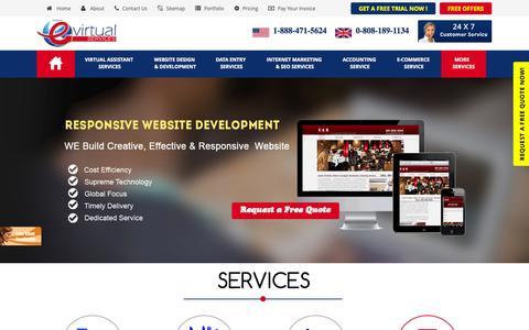 Screenshot of Home Page evirtualservices.com - E Virtual Services - Best Virtual Assistant Services Company   Hire Virtual Assistant At $5.98/Hour - captured Sept. 19, 2014