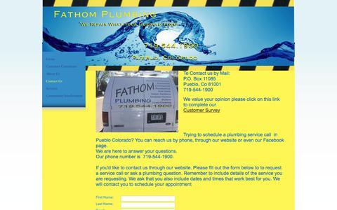 Screenshot of Contact Page fathomplumbing.com - Fathom Plumbing - Contact Us - Pueblo, CO - captured Aug. 12, 2018