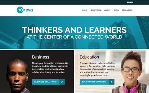Screenshot of Home Page nureva.com - Nureva | Collaboration solutions for business and education - captured Sept. 13, 2015
