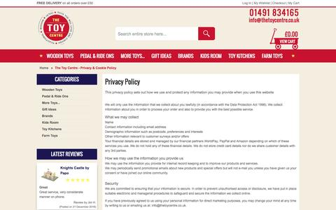Screenshot of Privacy Page thetoycentre.co.uk - The Toy Centre - Privacy & Cookie Policy - captured Dec. 22, 2016