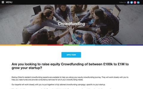 Screenshot of Services Page startupdirect.org - Start up Crowdfunding scheme - captured Sept. 21, 2018
