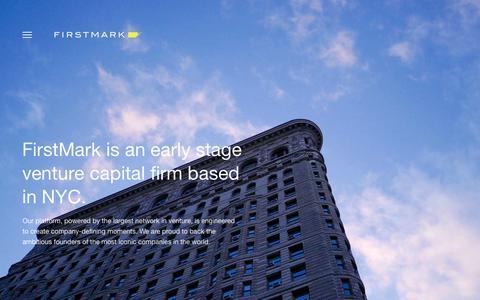 Screenshot of About Page firstmarkcap.com - About - FirstMark - captured Jan. 11, 2019