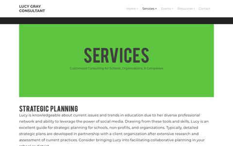 Screenshot of Services Page lucygrayconsulting.com - Services - Lucy Gray Consultant - captured Jan. 5, 2018