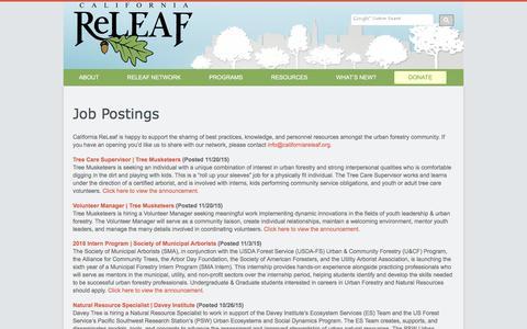 Screenshot of Jobs Page californiareleaf.org - Jobs   California ReLeaf - captured Dec. 6, 2015