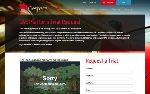 Screenshot of Trial Page ciespace.com - Free Trial | CiespaceCiespace Open Cloud CAE Platform - captured Sept. 13, 2014