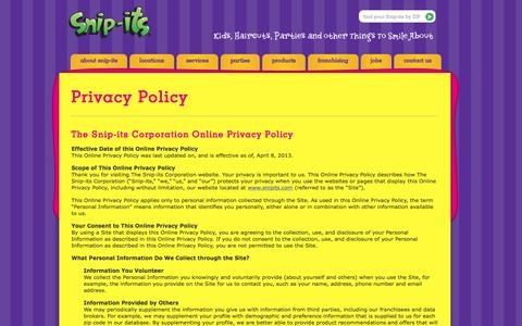 Screenshot of Privacy Page snipits.com - Privacy Policy - Snip-its - captured Jan. 17, 2016