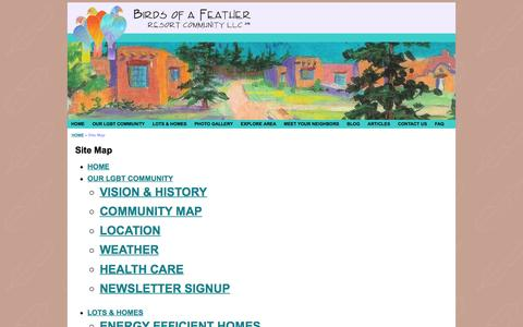 Screenshot of Site Map Page birdsofafeather.com - Birds of a Feather -  Site Map - captured Feb. 7, 2016