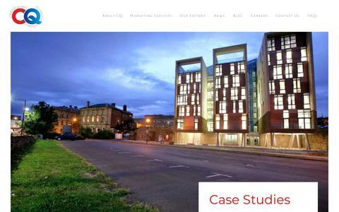 Screenshot of Case Studies Page cqstrategicmarketing.com - Case Studies - CQ Strategic Marketing - captured Sept. 25, 2018