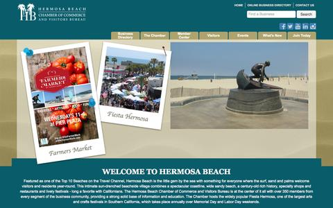 Screenshot of Home Page hbchamber.net - Home - Hermosa Beach Chamber of Commerce and Visitors Bureau - captured Sept. 19, 2015