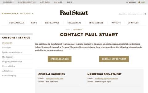 Screenshot of Contact Page paulstuart.com - Contact Us - captured Nov. 17, 2015