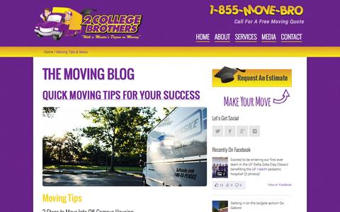 Screenshot of Press Page 2collegebrothers.com - Moving Tips & News   2 College Brothers - captured Nov. 5, 2014