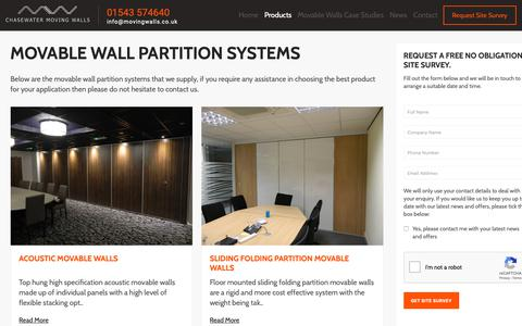 Screenshot of Products Page movingwalls.co.uk - Movable Wall Partition Systems | Chasewater Moving Walls - captured Sept. 27, 2018