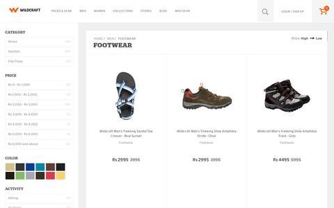Screenshot of wildcraft.in - Wildcraft Mens Footwear - Buy Mens Footwear Online in India - captured March 19, 2016