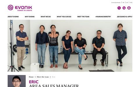 Screenshot of Team Page evonik.com - Eric                                                                - Evonik Careers - captured July 14, 2018