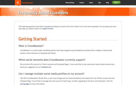 Screenshot of FAQ Page crowdbooster.com - Crowdbooster FAQs - captured Sept. 13, 2014