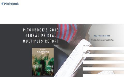 Screenshot of Landing Page pitchbook.com - PitchBook 2016 Global PE Deal Multiples: II - captured April 8, 2018