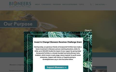 Screenshot of About Page bioneers.org - Purpose | Bioneers - captured Nov. 6, 2018
