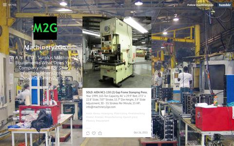 Screenshot of Press Page tumblr.com - press posts -  Machinery2Go - captured July 25, 2018
