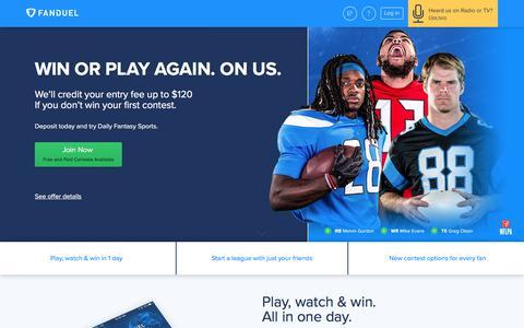 Screenshot of Home Page fanduel.com - FanDuel: Daily Fantasy Football, MLB, NBA, NHL Leagues for Cash    FanDuel - captured Aug. 10, 2017
