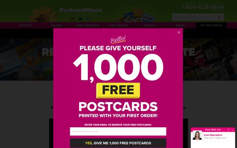Screenshot of Pricing Page postcardmania.com - Pricing | Products & Services - captured Aug. 28, 2019