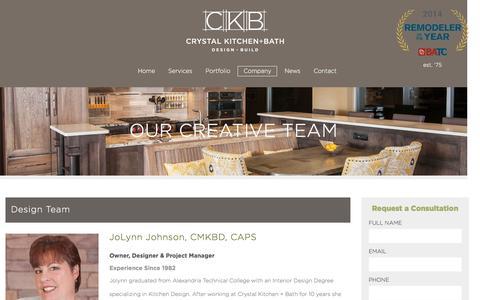 Screenshot of About Page crystalkitchen.com - Our Creative Team - Crystal Kitchen + Bath - captured Nov. 14, 2016
