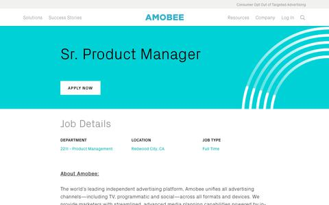 Screenshot of Jobs Page amobee.com - Sr. Product Manager — Amobee - captured Nov. 18, 2019