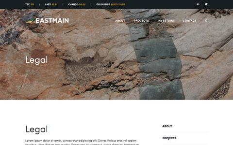 Screenshot of Terms Page eastmain.com - Eastmain Resources Inc.: Legal - captured Oct. 20, 2016