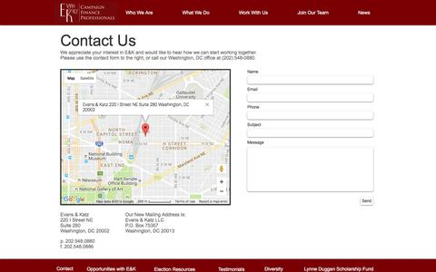 Screenshot of Contact Page evanskatz.com - Evans & Katz   Work With Us - captured Nov. 12, 2016