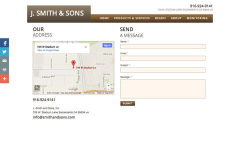 Screenshot of Privacy Page Contact Page smithandsons.com - Contact - captured Oct. 23, 2014