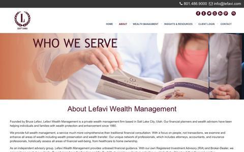 Screenshot of About Page lefavi.com - About Lefavi Wealth Management - captured Nov. 6, 2016