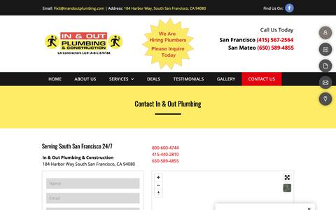 Screenshot of Contact Page inandoutplumbing.com - Contact In & Out Plumbing 24/7 | South San Francisco | Free Estimate - captured Nov. 6, 2018