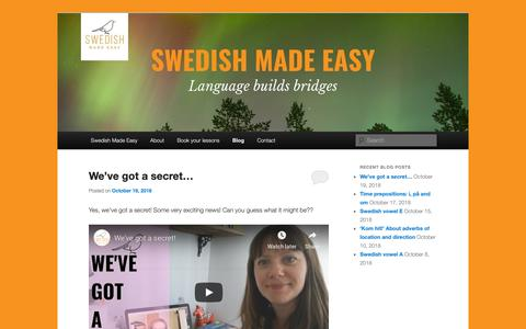 Screenshot of Blog swedishmadeeasy.com - Swedish Made Easy blogSwedish Made Easy | Swedish anywhere in the world - captured Oct. 19, 2018
