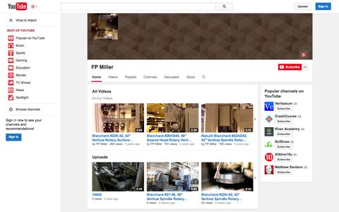 Screenshot of YouTube Page youtube.com - FP Miller  - YouTube - captured Oct. 23, 2014