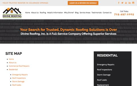 Screenshot of Site Map Page divineroofinginc.com - Site Map | Colorado Springs Roofing Service - captured Aug. 16, 2019