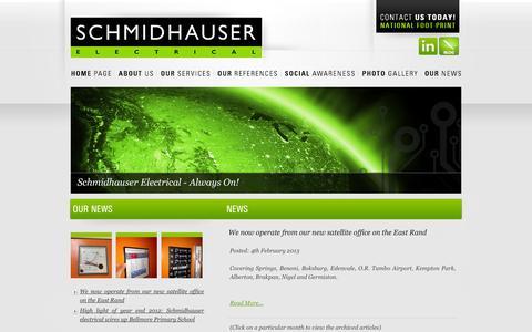 Screenshot of Press Page schmidhauser.co.za - Schmidhauser Electrical | News - captured Oct. 4, 2014