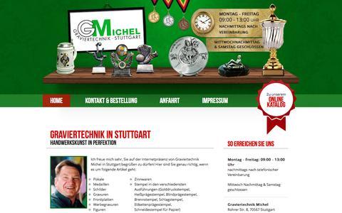 Screenshot of Home Page michel-graviertechnik.de - Graviertechnik Michel in Stuttgart – Pokale und Medaillen - captured June 10, 2016